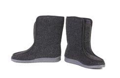 Pair of black felt boots. Stock Photo