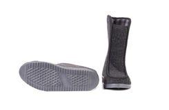 Pair of black felt boots. Stock Photos