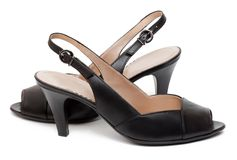 A pair of black female shoes Stock Photo