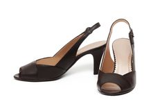 A pair of black female shoes Royalty Free Stock Images