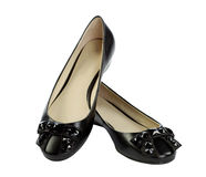 Pair of black flat shoes Stock Photos