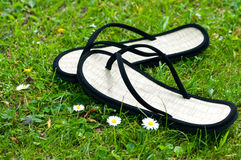 A pair of black flip flops Royalty Free Stock Image