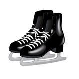 Pair of black ice skates on white. Pair of black ice skates isolated on white Royalty Free Stock Photos