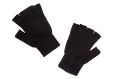 Pair of black knitted gloves Royalty Free Stock Image