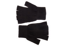 Pair of black knitted gloves Royalty Free Stock Photos