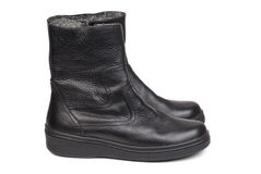 Pair of black leather boots for men on a white Stock Photography