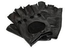 Pair of black leather gloves Stock Image