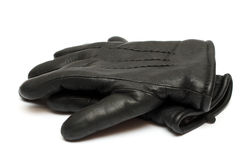 Pair black leather gloves Stock Photo