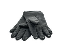 Pair of black leather gloves isolated stock photo