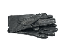 Pair of black leather gloves isolated royalty free stock images