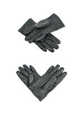 Pair of black leather gloves isolated stock image