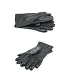 Pair of black leather gloves isolated royalty free stock image