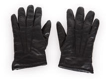 A pair of black leather gloves Stock Images