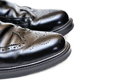 Pair of black leather men shoes Royalty Free Stock Photography
