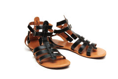 Pair of black leather sandals Stock Image