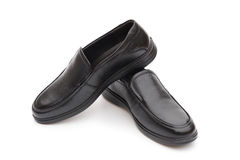 Pair of black leather shoe for man on white Stock Photography