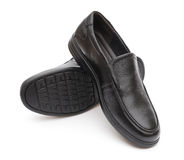 Pair of black leather shoe for man on white Royalty Free Stock Photos