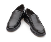 Pair of black leather shoe for man on white Royalty Free Stock Photography