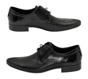 Pair of black leather shoes Stock Photo