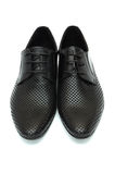 Pair of black leather shoes Stock Photography