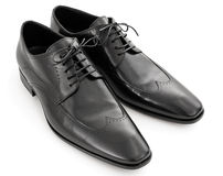 Pair of black leather shoes Royalty Free Stock Photography
