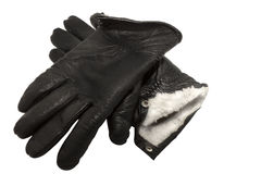 Pair of black leather winter gloves stock photography