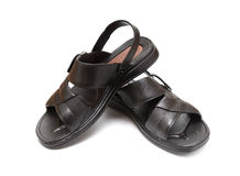 Pair of black leisure sandal Royalty Free Stock Images