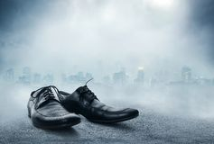 Pair of black male classic shoes Royalty Free Stock Images