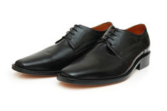 Pair of black male shoes stock photos
