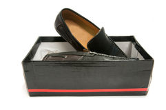 Pair of black male shoes in box Royalty Free Stock Photos