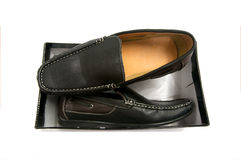Pair of black male shoes in box isolated Royalty Free Stock Photos