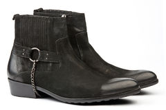Pair of black male western slyle shoes Royalty Free Stock Images