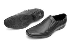 Pair of black man's shoes Stock Photos