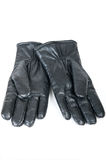 A Pair of black men's leather gloves. Isolated on white Royalty Free Stock Photo