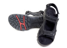 Pair of black men's leather sandals Royalty Free Stock Photography