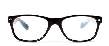 Pair of black modern eye glasses. Over white background royalty free stock photo