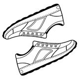 Pair black outlined sneakers shoes Stock Photos