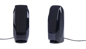 Pair of black pc speakers Stock Photo
