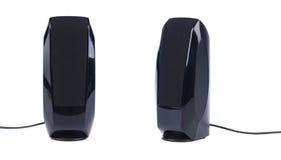 Pair of black pc speakers stock photo