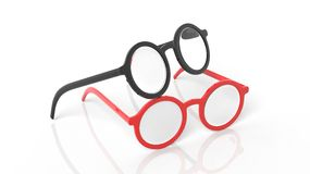 Pair of black and red round-lens eyeglasses Royalty Free Stock Photo