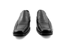 Pair of black shiny men shoes Stock Images