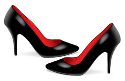 Pair of black shoes Stock Images