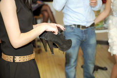 Pair of Black Shoes Royalty Free Stock Photos