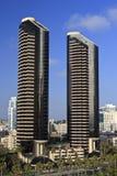 Pair of Black Skyscrapers Stock Photos