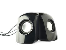 Pair of black sound speakers isolated Stock Photos