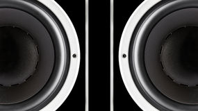 Pair of black sound speakers membrane Stock Image