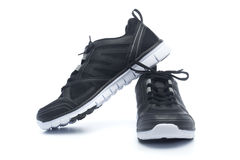 Pair of black sport shoes, sneakers Stock Photography