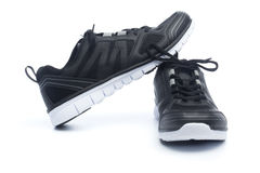 Pair of black sport shoes, sneakers Stock Image