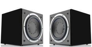 Pair of black subwoofers Stock Photos
