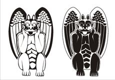 A pair of black and white gargoyles Royalty Free Stock Image
